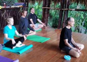 A picture of a Pranayama class in CR retreat in Kriya Yoga Teacher Training Level 2.