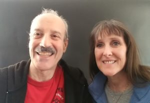a picture of Lisa and Kenny doing the radio show Mother's Day a Time of Reconciliation.