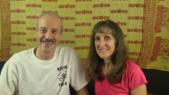 a picture of Lisa and Kenny doing the radio show Patriot Day Celebrated Kriya Yoga Style.