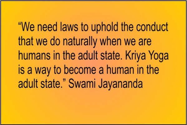 A poster with a quote from Swami Jayananda