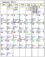 A picture of an astrology calendar