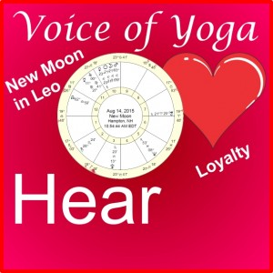 A poster for The Voice of Yoga New Moon in Leo Show.