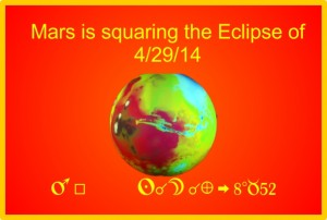 Eclipse of 4/29/14 is being squared by Mars on 8/22/15