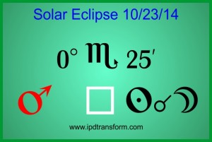 A picture poster for the solar eclipse on 10/23/14