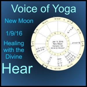 a poster for the radio show New Moon 1/9/16 and Healing with the Divine