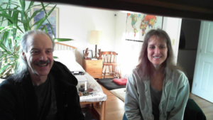 A picture of Lisa and Kenny doing the radio show on Points and Rites of Passage and Discussing Mythology of Religions.