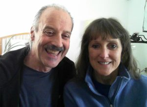 A picture of Lisa and Kenny doing the radio talk show on Religious Holidays