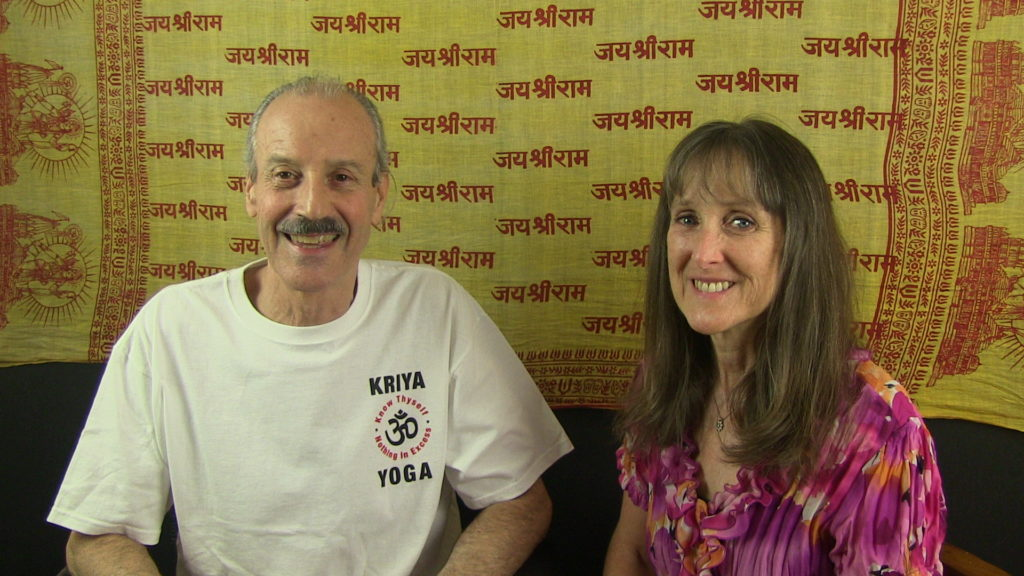 a picture of Lisa and Kenny doing the radio talk show on Samadhi 2017.