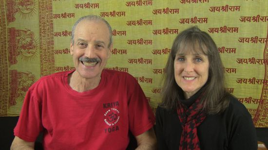 a picture of Lisa and Kenny doing the radio show Renunciation to Overcome Materialism.