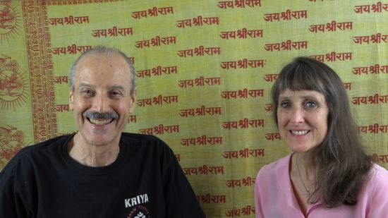 a picture of Lisa and Kenny doing the radio talk show Finding Your Dharma with Kriya Yoga
