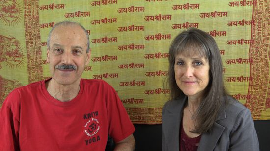 A picture of Lisa and Kenny doing the radio talk show Kriya Yoga is Spiritualization of Thought.