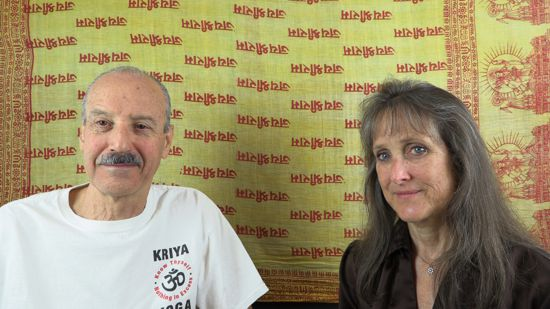 a picture of Lisa and Kenny doing the radio talk show World Vegetarian Day and Divine Unity.