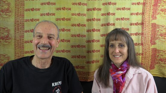 a picture of Lisa and Kenny doing the radio show Acquiring a Taste for the Divine