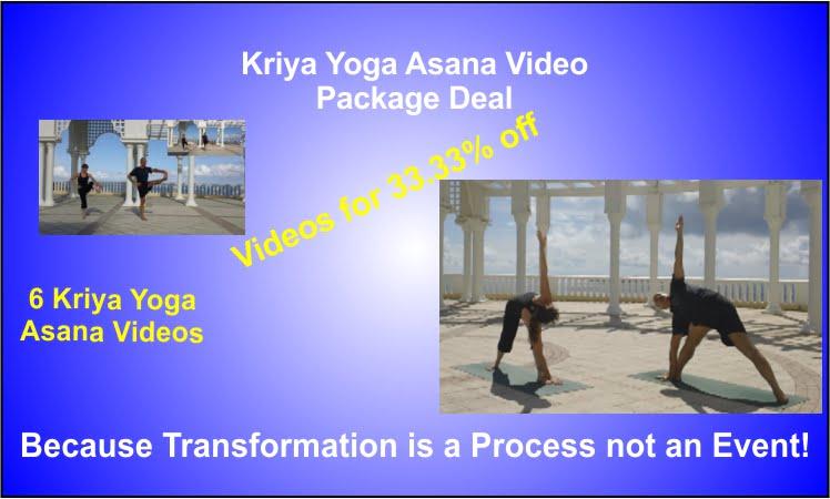 a poster for Kriya Yoga Asana Video Package.