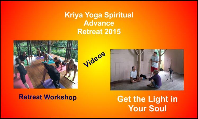 A poster for the Kriya Yoga Spiritual Advance Retreat workshop video.