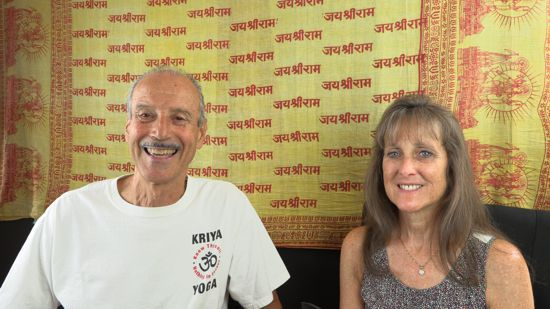 A picture of Kenny and Lisa doing the radio talk show titled Practice Spiritual Responses for Practical Conditions.