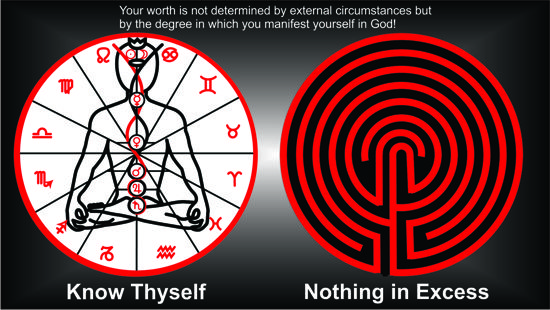 A picture of the TLC Labyrinth with Divine Science affirmations.