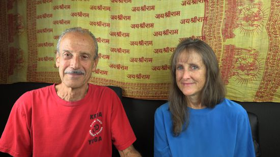 A picture of Lisa and Kenny doing the radio talk show Understanding the Middle Path.