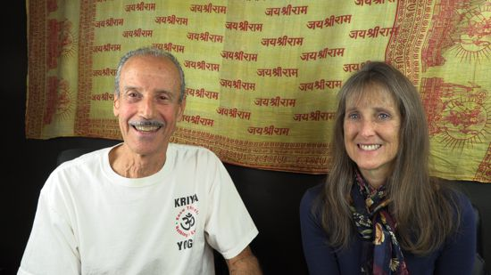 A picture of Lisa and Kenny doing the radio talk show The Challenges of Accepting Mortality.