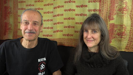 A picture of Lisa and Kenny doing the radio talk show Namaste is Honoring Divinity Within.